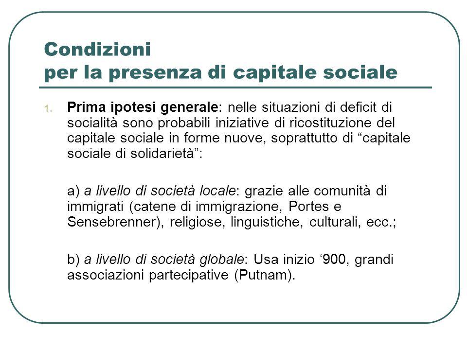 Condizioni per la presenza di capitale sociale 1.