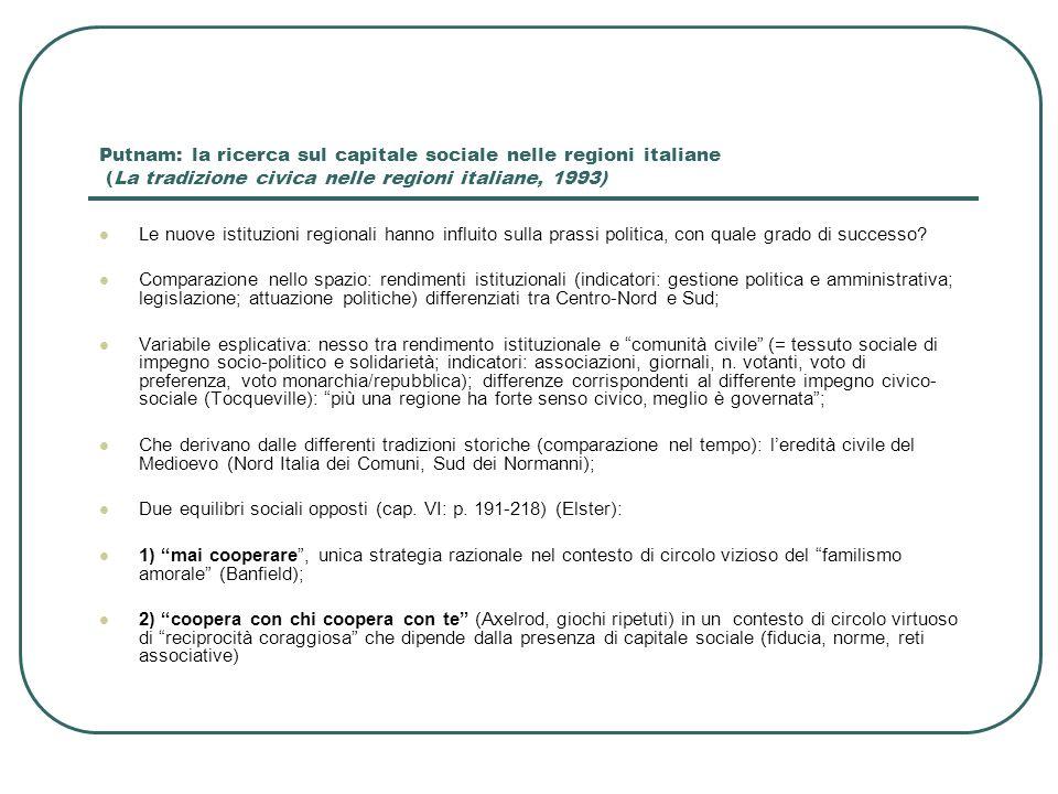 Il capitale sociale di Putnam: una critica sociologica (Trigilia) La civicness può spiegare davvero il rendimento differenziato delle regioni italiane.