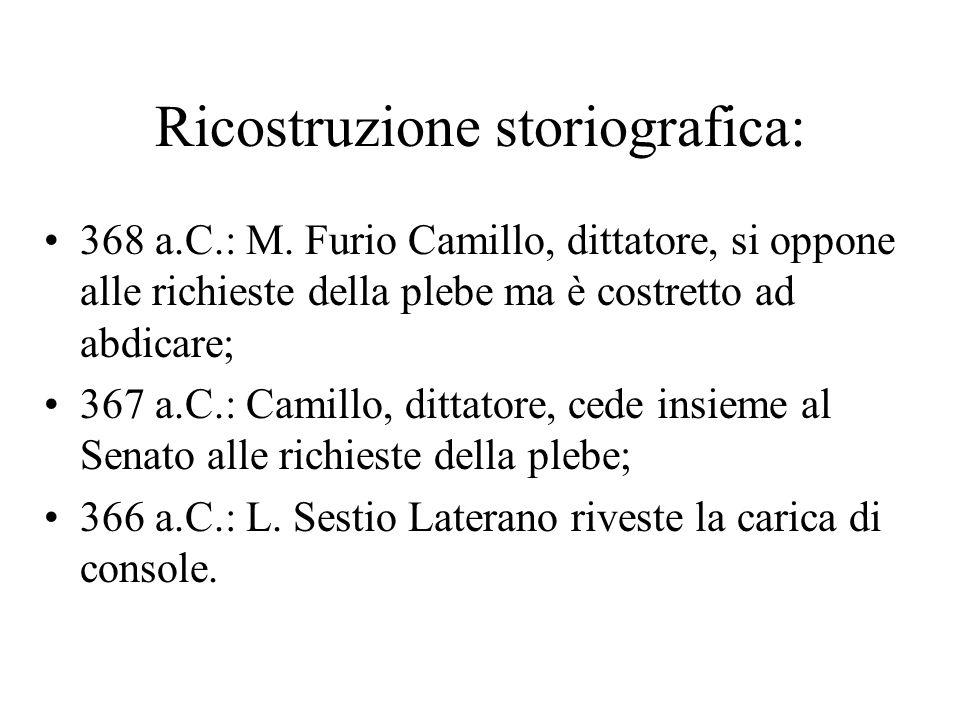 Ricostruzione storiografica: 368 a.C.: M. Furio Camillo, dittatore, si oppone alle richieste della plebe ma è costretto ad abdicare; 367 a.C.: Camillo
