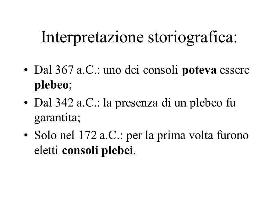 Interpretazione storiografica: Dal 367 a.C.: uno dei consoli poteva essere plebeo; Dal 342 a.C.: la presenza di un plebeo fu garantita; Solo nel 172 a.C.: per la prima volta furono eletti consoli plebei.