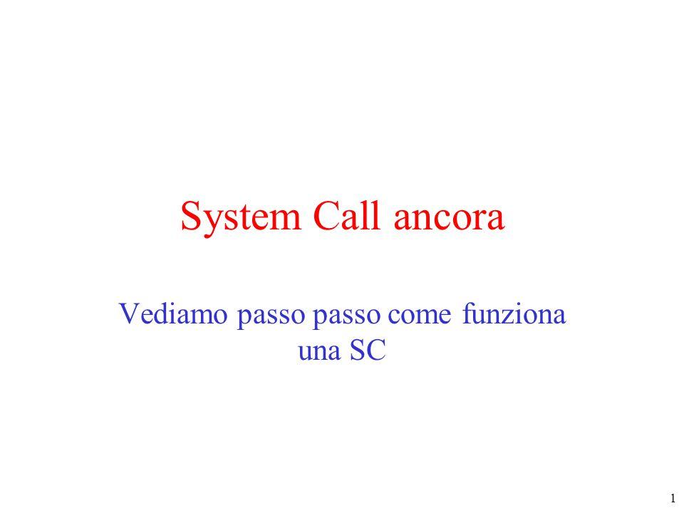 1 System Call ancora Vediamo passo passo come funziona una SC
