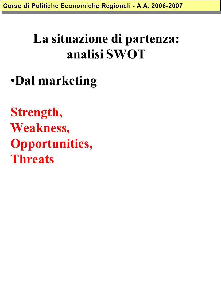 La situazione di partenza: analisi SWOT Dal marketing Strength, Weakness, Opportunities, Threats Corso di Politiche Economiche Regionali - A.A. 2006-2