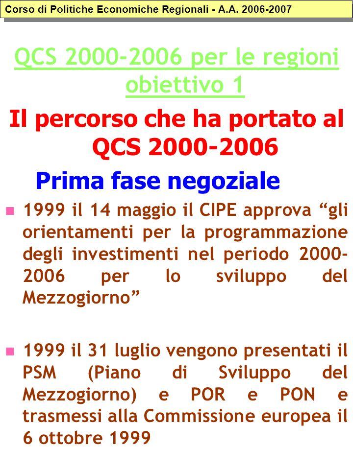 """QCS 2000-2006 per le regioni obiettivo 1 Il percorso che ha portato al QCS 2000-2006 Prima fase negoziale 1999 il 14 maggio il CIPE approva """"gli orien"""