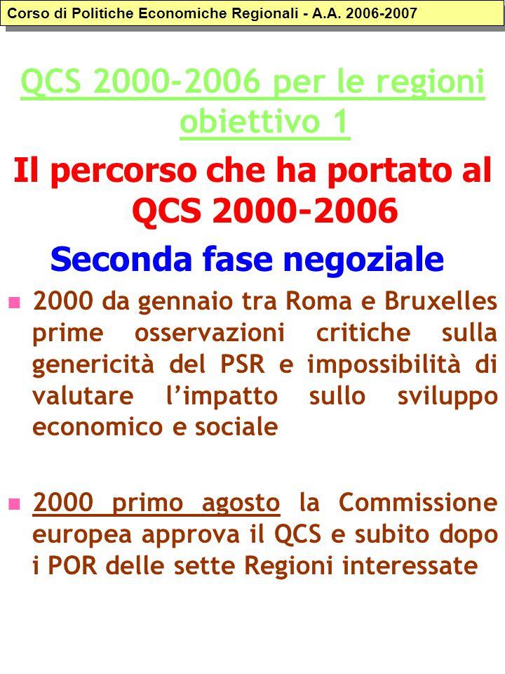 QCS 2000-2006 per le regioni obiettivo 1 Il percorso che ha portato al QCS 2000-2006 Seconda fase negoziale 2000 da gennaio tra Roma e Bruxelles prime