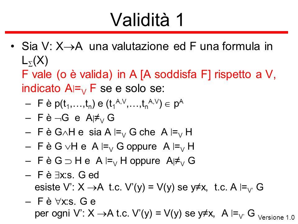Versione 1.0 Validità 1 Sia V: X  A una valutazione ed F  una formula in L  (X) F vale (o è valida) in A [A soddisfa F] rispetto a V, indicato A | = V F se e solo se: – F è p(t 1,…,t n ) e (t 1 A,V,…,t n A,V )  p A – F è  G e A | ≠ V G – F è G  H e sia A | = V G che A | = V H – F è G  H e A | = V G oppure A | = V H – F è G  H e A | = V H oppure A | ≠ V G – F è  x:s.