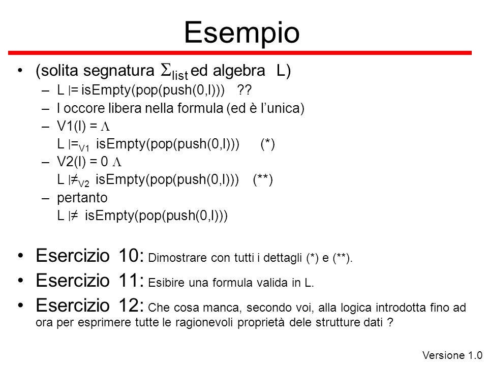 Versione 1.0 Esempio (solita segnatura  list ed algebra L) –L | = isEmpty(pop(push(0,l))) .