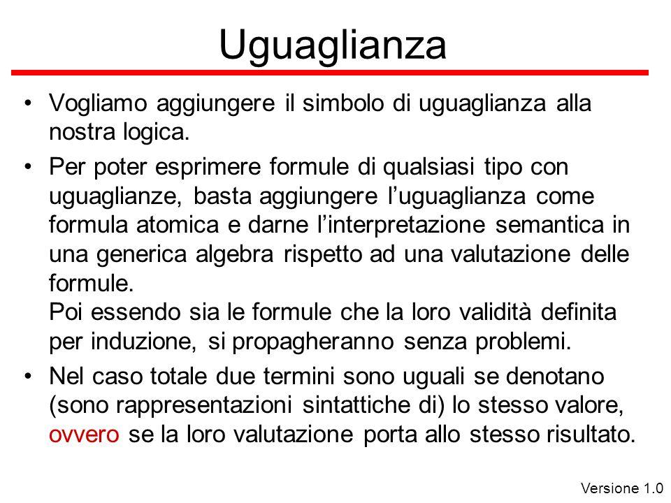 Versione 1.0 Uguaglianza Vogliamo aggiungere il simbolo di uguaglianza alla nostra logica.