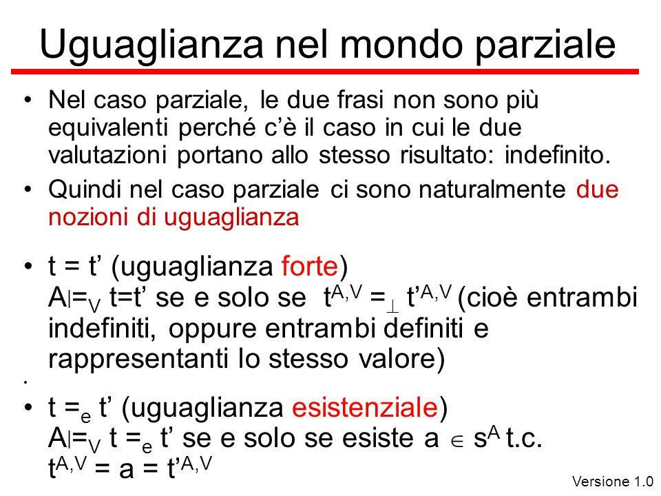 Versione 1.0 Uguaglianza nel mondo parziale Nel caso parziale, le due frasi non sono più equivalenti perché c'è il caso in cui le due valutazioni portano allo stesso risultato: indefinito.