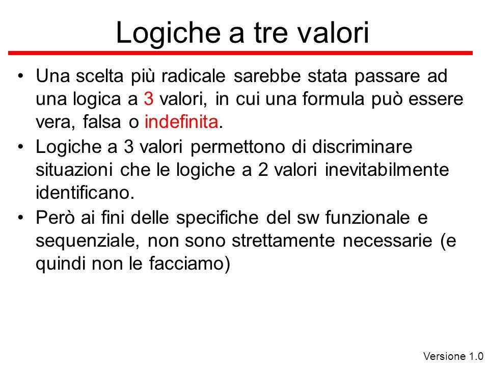 Versione 1.0 Logiche a tre valori Una scelta più radicale sarebbe stata passare ad una logica a 3 valori, in cui una formula può essere vera, falsa o indefinita.