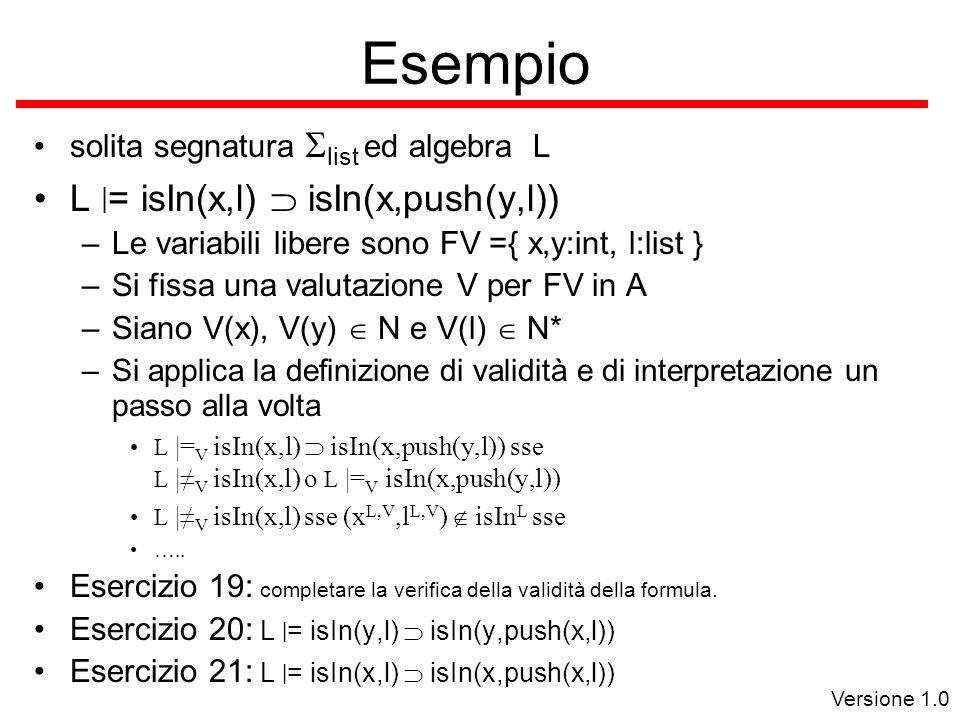 Versione 1.0 Esempio solita segnatura  list ed algebra L L | = isIn(x,l)  isIn(x,push(y,l)) –Le variabili libere sono FV ={ x,y:int, l:list } –Si fissa una valutazione V per FV in A –Siano V(x), V(y)  N e V(l)  N* –Si applica la definizione di validità e di interpretazione un passo alla volta L |= V isIn(x,l)  isIn(x,push(y,l)) sse L |≠ V isIn(x,l) o L |= V isIn(x,push(y,l)) L |≠ V isIn(x,l) sse (x L,V,l L,V )  isIn L sse …..