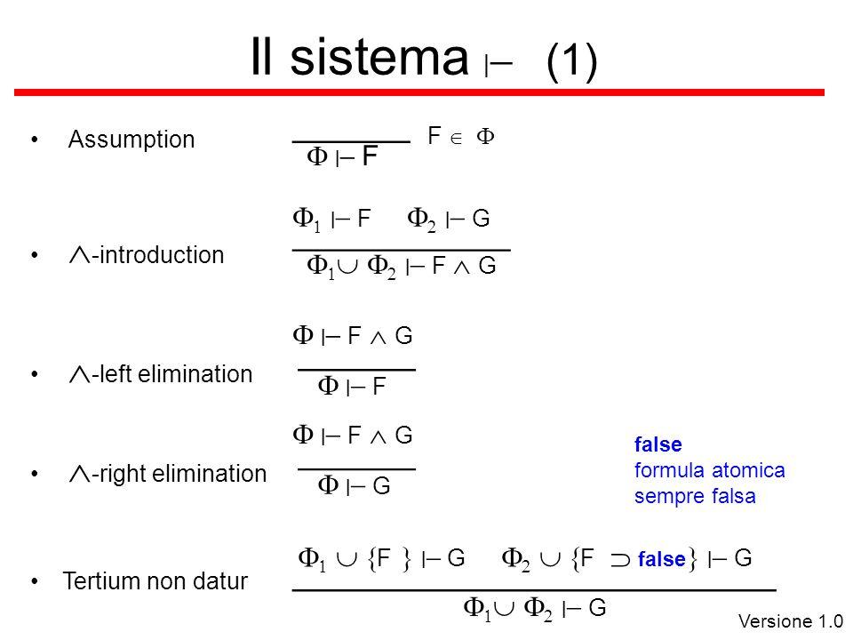 Versione 1.0 Il sistema   (1)    F _______ F         F  G _____________      F      G    F _______    F  G    G _______    F  G        G _____________________________    F    G    F  false    G Assumption  -introduction  -left elimination  -right elimination Tertium non datur false formula atomica sempre falsa