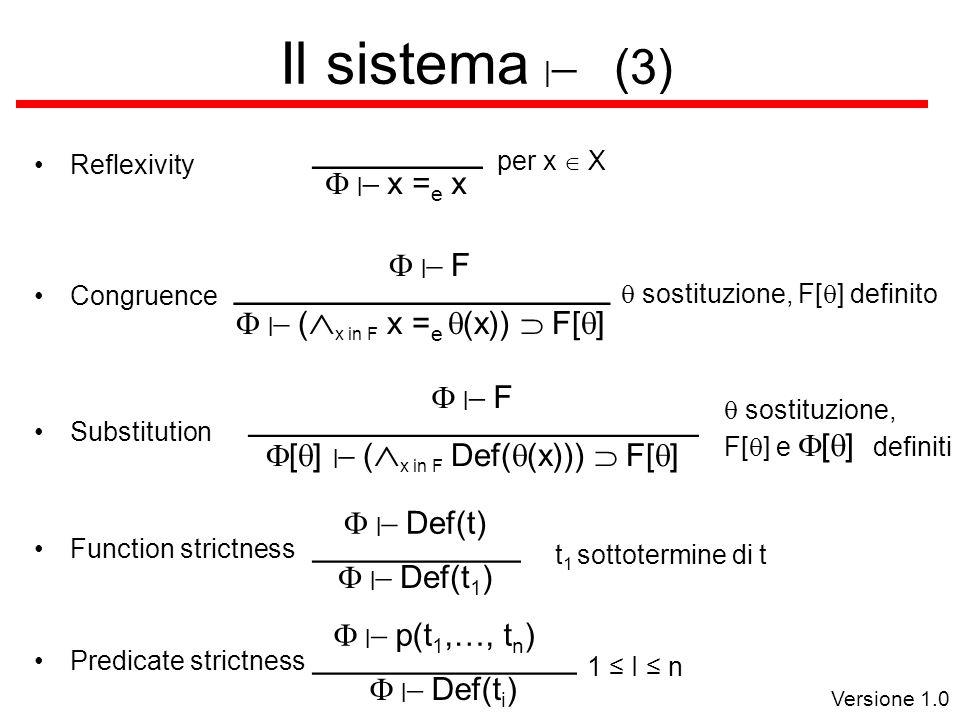 Versione 1.0 Il sistema   (3) Reflexivity Congruence    x = e x _________ per x  X    (  x in F x = e  (x))  F[  ] ____________________    F  sostituzione, F[  ] definito Function strictness    Def(t 1 ) ___________    Def(t) t 1 sottotermine di t Predicate strictness    Def(t i ) ______________    p(t 1,…, t n ) 1 ≤ I ≤ n Substitution  [  ]    (  x in F Def(  (x)))  F[  ] ________________________    F  sostituzione, F[  ] e  [  ]  definiti