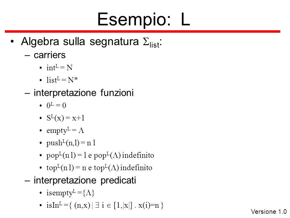 Versione 1.0 Esempio: L Algebra sulla segnatura  list : –carriers int L = N list L = N* –interpretazione funzioni 0 L = 0 S L (x) = x+1 empty L =  push L (n,l) = n l pop L (n l) = l e pop L (  ) indefinito top L (n l) = n e top L (  ) indefinito –interpretazione predicati isempty L ={  } isIn L ={ (n,x) |  i  [1,|x|].