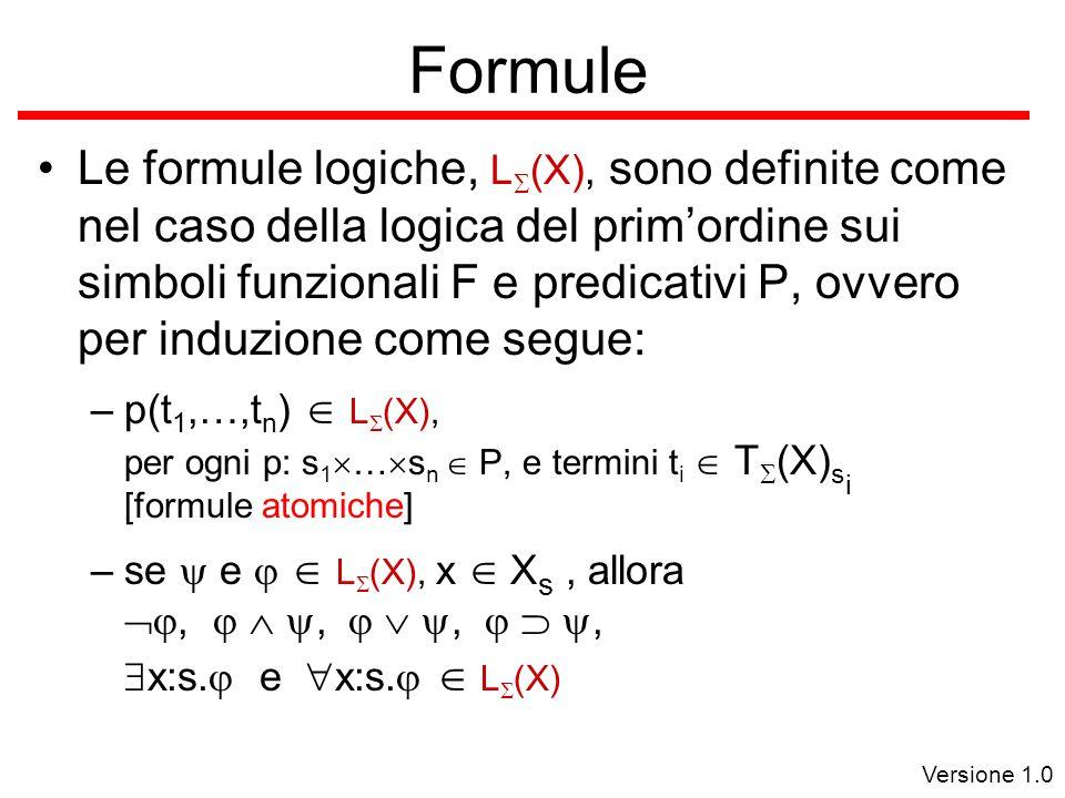 Versione 1.0 Formule Le formule logiche, L  (X), sono definite come nel caso della logica del prim'ordine sui simboli funzionali F e predicativi P, ovvero per induzione come segue: –p(t 1,…,t n )  L  (X), per ogni p: s 1  …  s n  P, e termini t i  T  (X) s i [formule atomiche] –se  e   L  (X), x  X s, allora ,   ,   ,   ,  x:s.