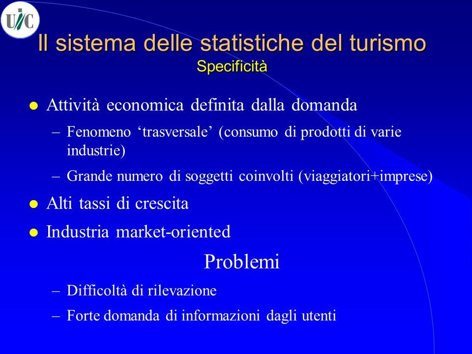 Il sistema delle statistiche del turismo Specificità l Attività economica definita dalla domanda –Fenomeno 'trasversale' (consumo di prodotti di varie