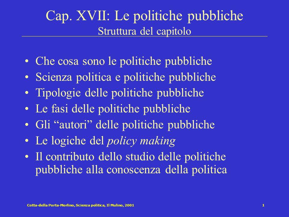 Cotta-della Porta-Morlino, Scienza politica, Il Mulino, 20011 Cap. XVII: Le politiche pubbliche Struttura del capitolo Che cosa sono le politiche pubb