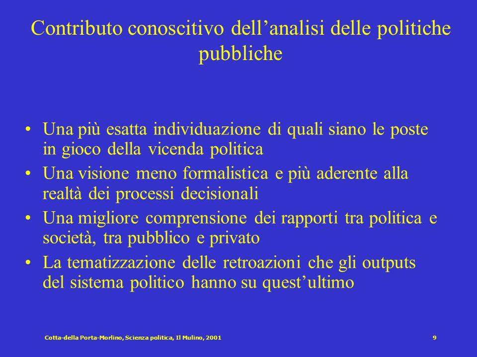 Cotta-della Porta-Morlino, Scienza politica, Il Mulino, 20019 Contributo conoscitivo dell'analisi delle politiche pubbliche Una più esatta individuazi