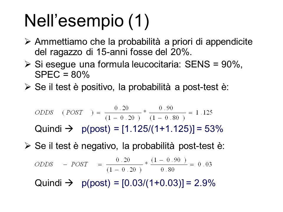 Nell'esempio (1)  Ammettiamo che la probabilità a priori di appendicite del ragazzo di 15-anni fosse del 20%.  Si esegue una formula leucocitaria: S