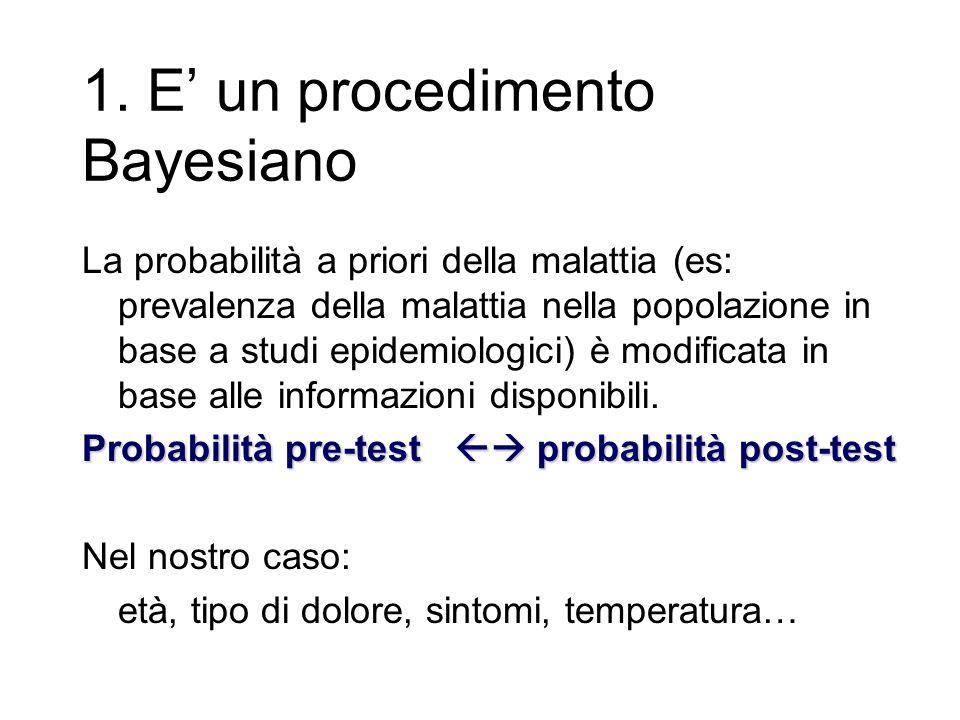 1. E' un procedimento Bayesiano La probabilità a priori della malattia (es: prevalenza della malattia nella popolazione in base a studi epidemiologici