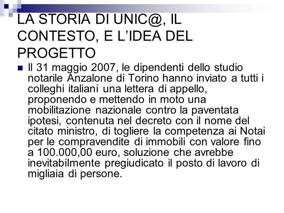 LA STORIA DI UNIC@, IL CONTESTO, E L'IDEA DEL PROGETTO Il 31 maggio 2007, le dipendenti dello studio notarile Anzalone di Torino hanno inviato a tutti