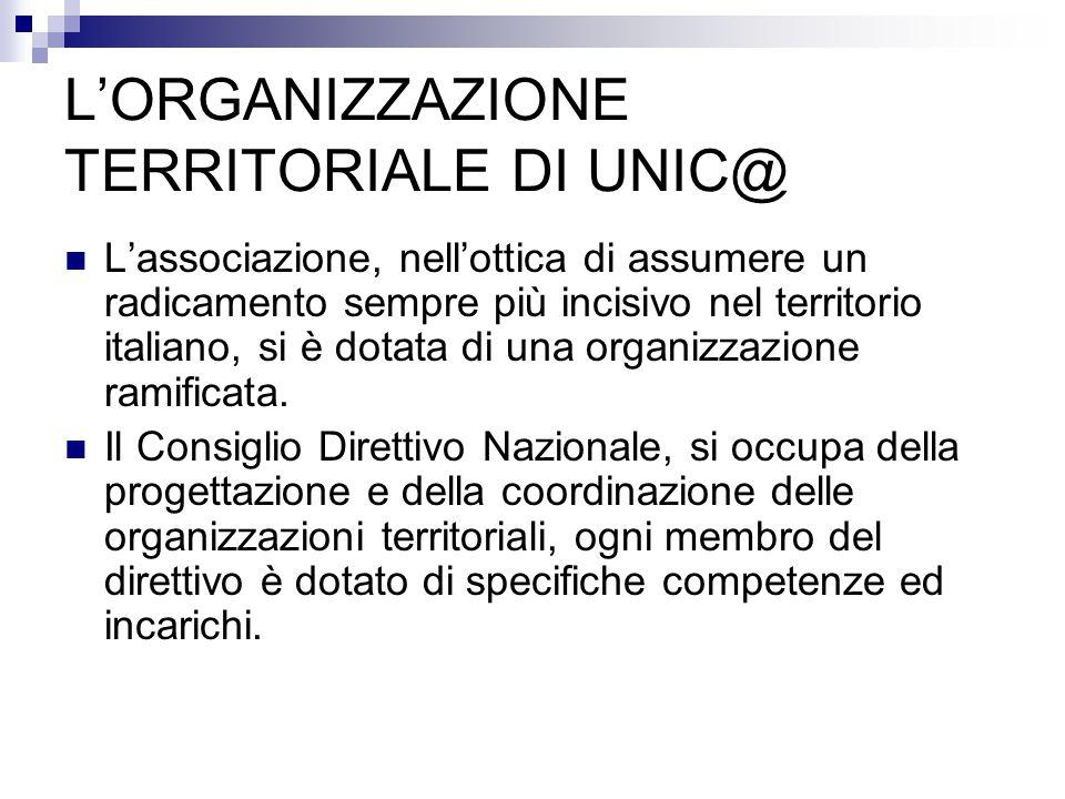 L'associazione, nell'ottica di assumere un radicamento sempre più incisivo nel territorio italiano, si è dotata di una organizzazione ramificata. Il C