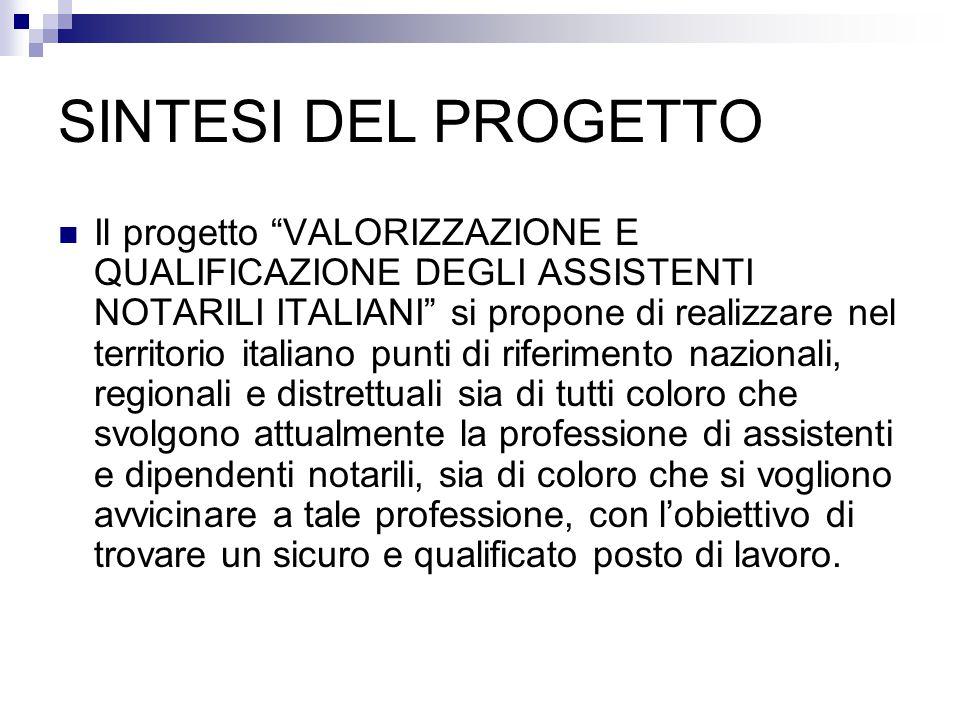 """Il progetto """"VALORIZZAZIONE E QUALIFICAZIONE DEGLI ASSISTENTI NOTARILI ITALIANI"""" si propone di realizzare nel territorio italiano punti di riferimento"""