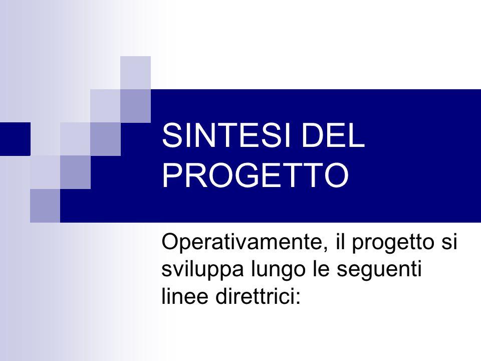 SINTESI DEL PROGETTO Operativamente, il progetto si sviluppa lungo le seguenti linee direttrici: