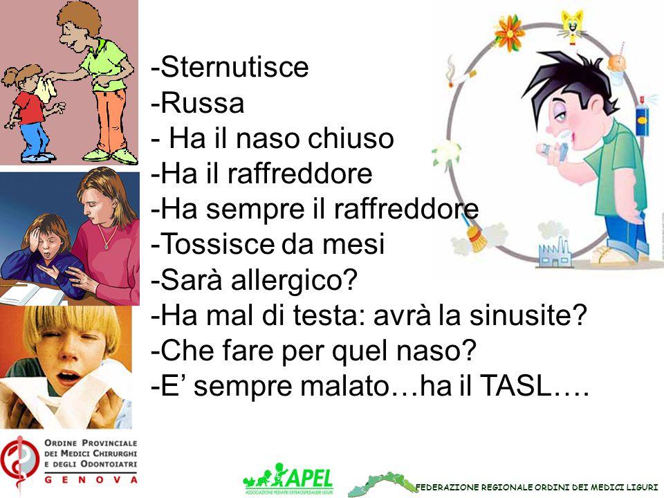 FEDERAZIONE REGIONALE ORDINI DEI MEDICI LIGURI -Sternutisce -Russa - Ha il naso chiuso -Ha il raffreddore -Ha sempre il raffreddore -Tossisce da mesi -Sarà allergico.