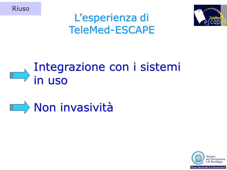 Integrazione con i sistemi in uso Non invasività L'esperienza di TeleMed-ESCAPE Riuso