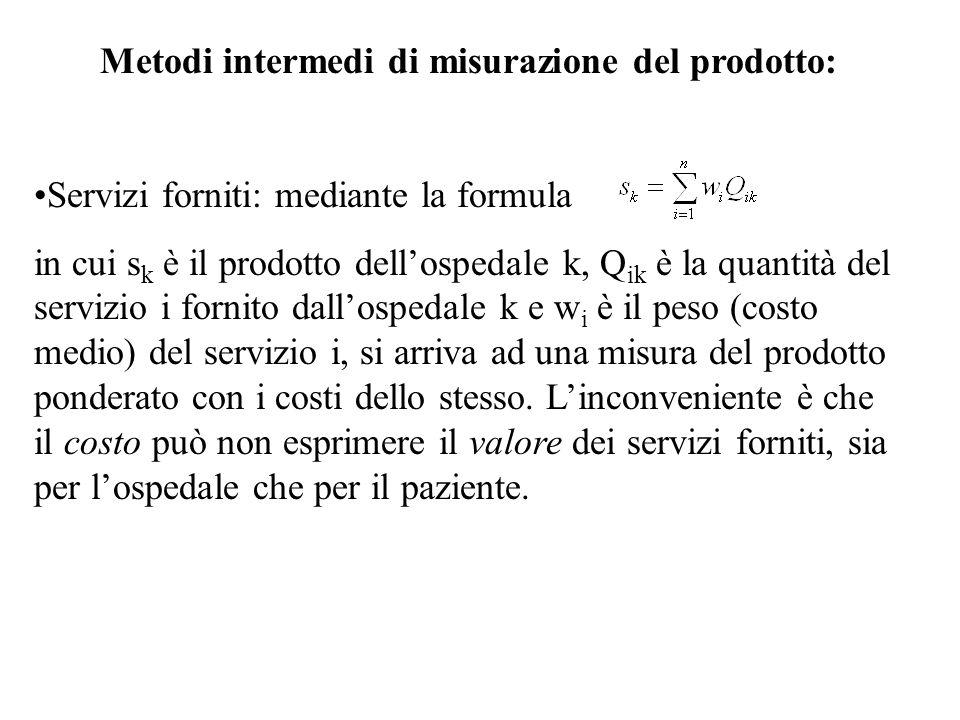 Metodi intermedi di misurazione del prodotto: Servizi forniti: mediante la formula in cui s k è il prodotto dell'ospedale k, Q ik è la quantità del se