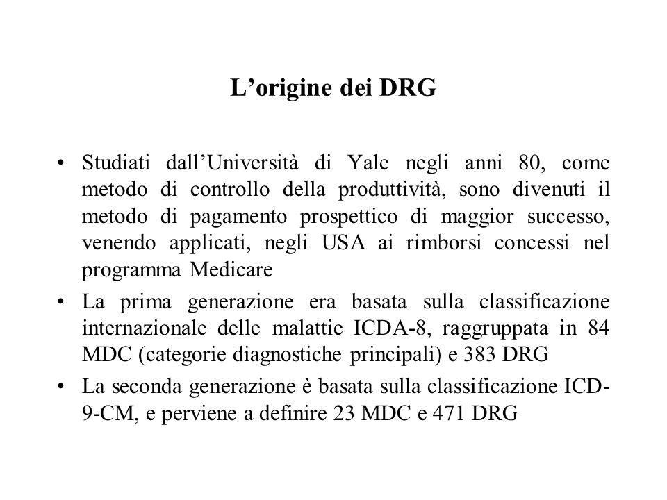 L'origine dei DRG Studiati dall'Università di Yale negli anni 80, come metodo di controllo della produttività, sono divenuti il metodo di pagamento prospettico di maggior successo, venendo applicati, negli USA ai rimborsi concessi nel programma Medicare La prima generazione era basata sulla classificazione internazionale delle malattie ICDA-8, raggruppata in 84 MDC (categorie diagnostiche principali) e 383 DRG La seconda generazione è basata sulla classificazione ICD- 9-CM, e perviene a definire 23 MDC e 471 DRG