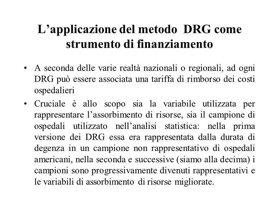 L'applicazione del metodo DRG come strumento di finanziamento A seconda delle varie realtà nazionali o regionali, ad ogni DRG può essere associata una