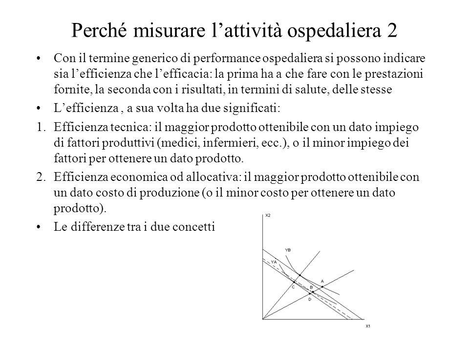 Perché misurare l'attività ospedaliera 2 Con il termine generico di performance ospedaliera si possono indicare sia l'efficienza che l'efficacia: la p