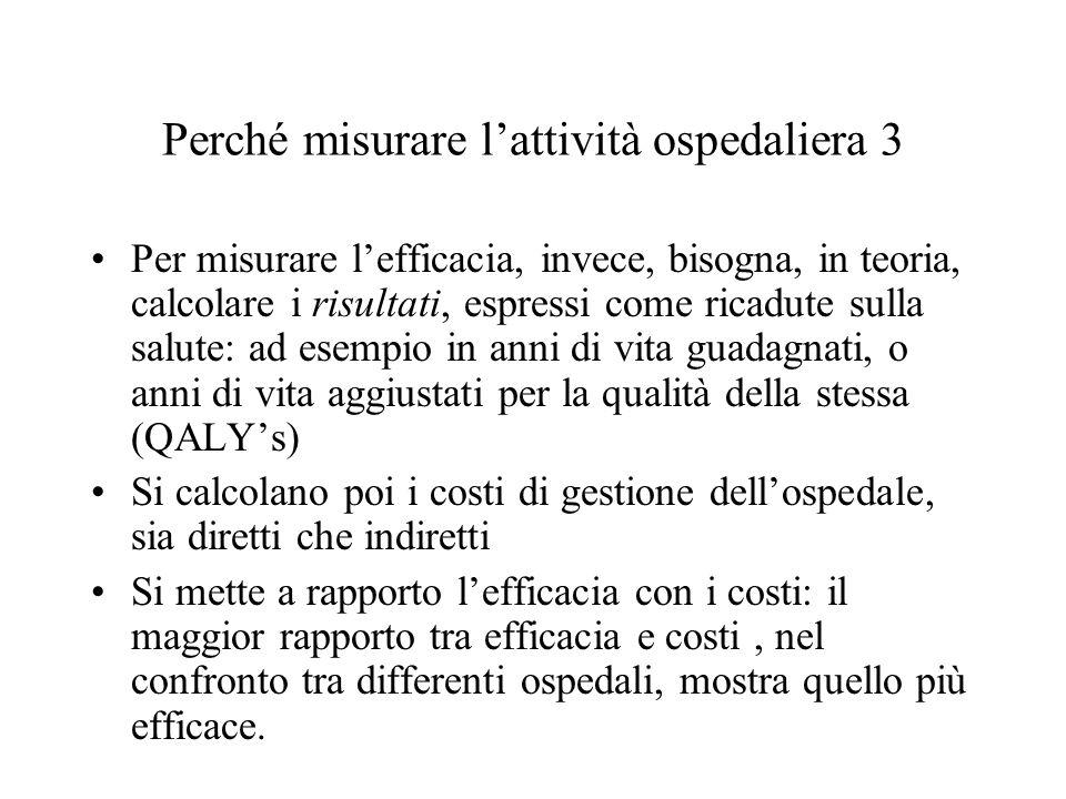 Una prima valutazione dei risultati dei DRG in Italia 2 Indicatori di efficienza grezzi, come la durata media di degenza (che diminuisce, in modo differenziato tra pubblico e privato, con quest'ultimo che sperimenta il maggior decremento) o il tasso di turnover e il tasso di occupazione dei posti letto(che aumentano) indicano un recupero di efficienza o una diminuzione di qualità, anche se le tendenze erano evidenti già prima dell'introduzione dei DRG Il tasso di ricoveri ripetuti sembra sotto controllo in alcune regioni (Emilia-Romagna), mentre in altre no (Lazio) La scrematura dei pazienti non sembra consistente (i trasferimenti tra ospedali interessano meno dell'1,5% dei ricoveri) L'indice del casemix è tendenzialmente in aumento, indizio di un probabile, almeno parziale, upgrade delle diagnosi