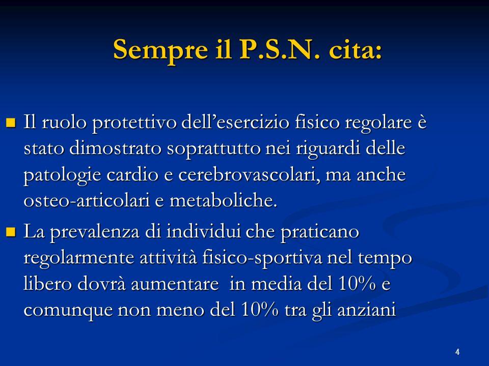 4 Sempre il P.S.N. cita: Il ruolo protettivo dell'esercizio fisico regolare è stato dimostrato soprattutto nei riguardi delle patologie cardio e cereb