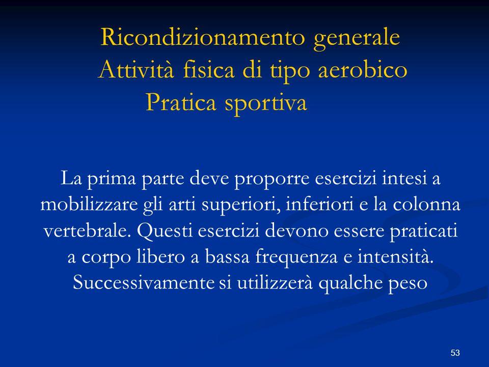 53 La prima parte deve proporre esercizi intesi a mobilizzare gli arti superiori, inferiori e la colonna vertebrale. Questi esercizi devono essere pra