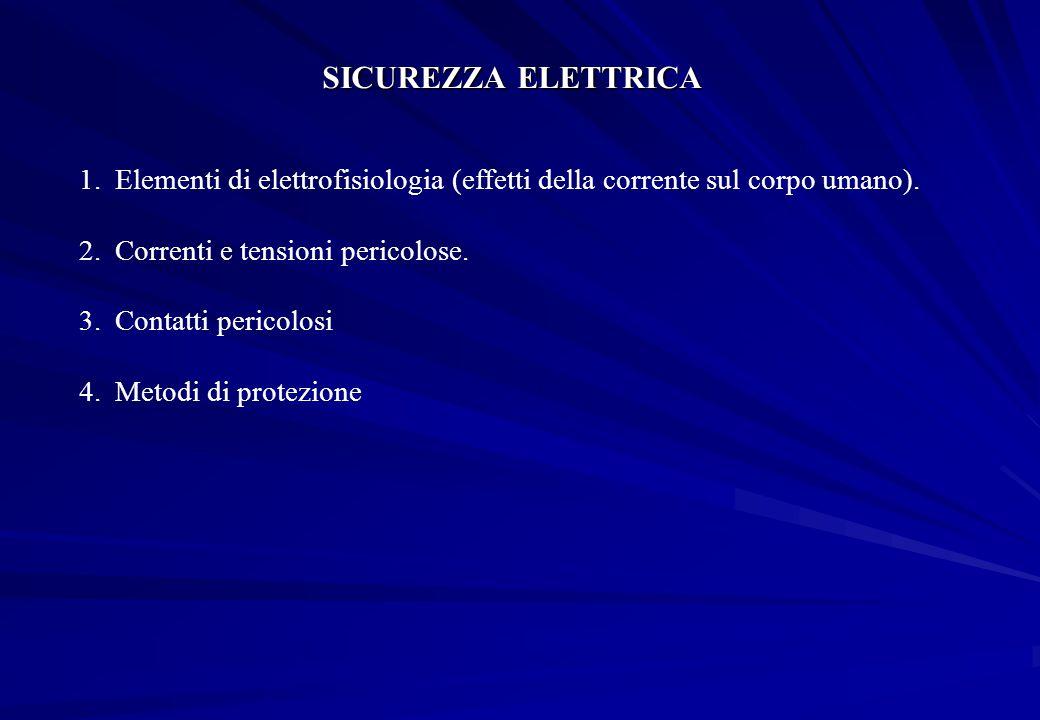 SICUREZZA ELETTRICA 1.Elementi di elettrofisiologia (effetti della corrente sul corpo umano). 2.Correnti e tensioni pericolose. 3.Contatti pericolosi
