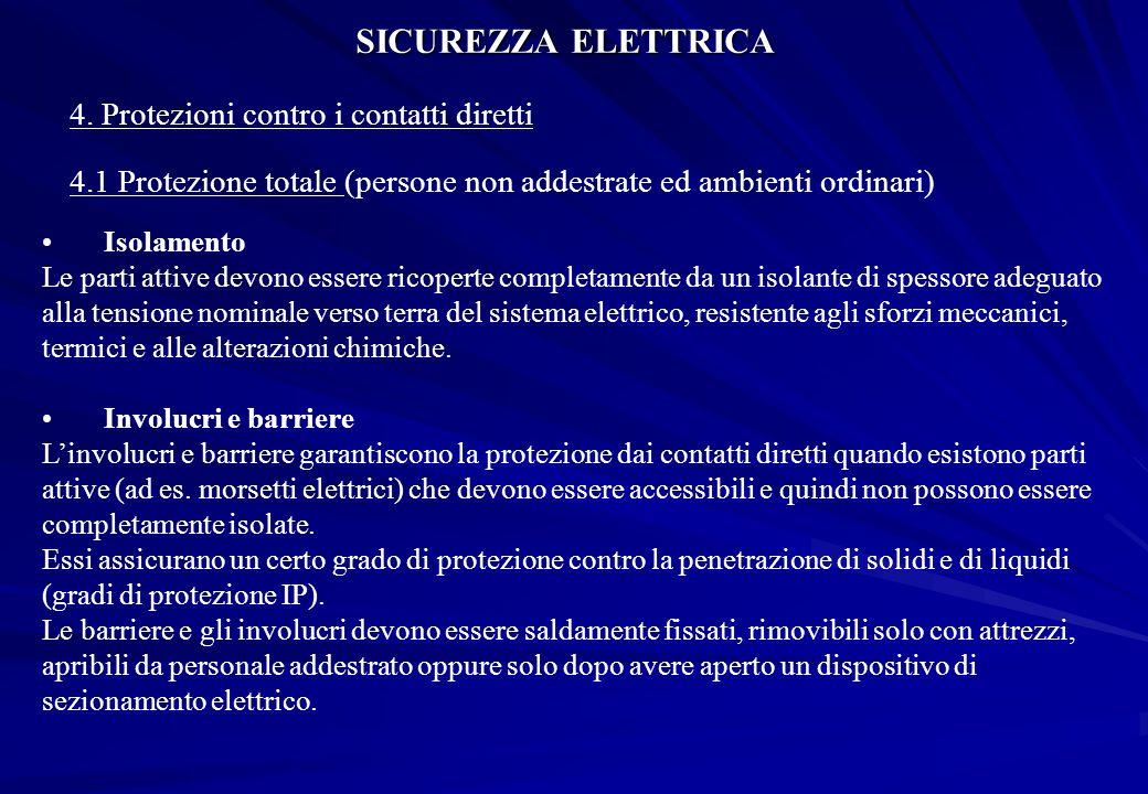 SICUREZZA ELETTRICA 4. Protezioni contro i contatti diretti Isolamento Le parti attive devono essere ricoperte completamente da un isolante di spessor