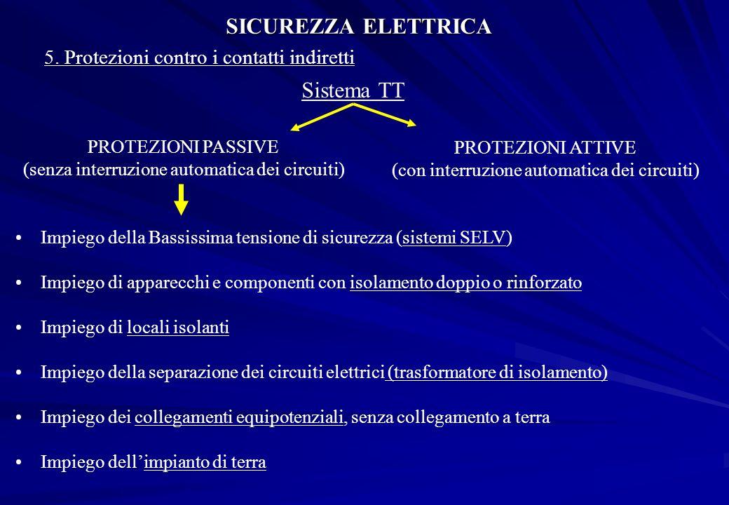 SICUREZZA ELETTRICA 5. Protezioni contro i contatti indiretti Sistema TT PROTEZIONI PASSIVE (senza interruzione automatica dei circuiti) PROTEZIONI AT