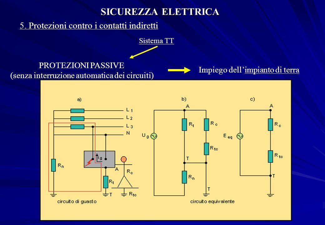 SICUREZZA ELETTRICA 5. Protezioni contro i contatti indiretti Sistema TT PROTEZIONI PASSIVE (senza interruzione automatica dei circuiti) Impiego dell'