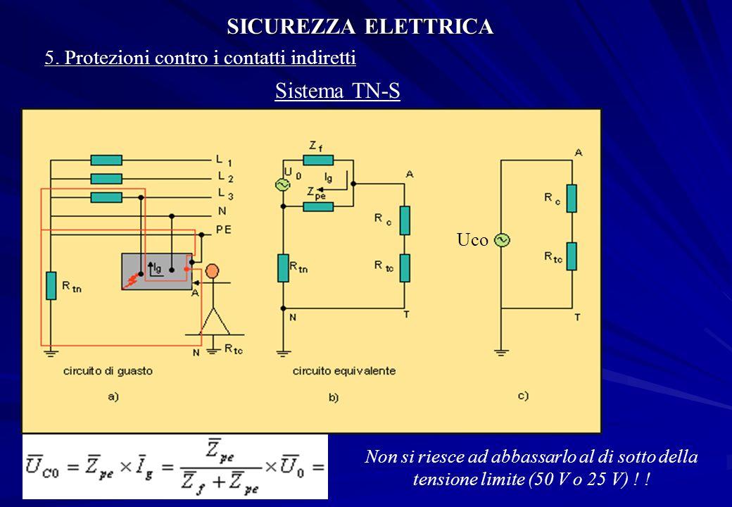 SICUREZZA ELETTRICA 5. Protezioni contro i contatti indiretti Sistema TN-S Uco Non si riesce ad abbassarlo al di sotto della tensione limite (50 V o 2