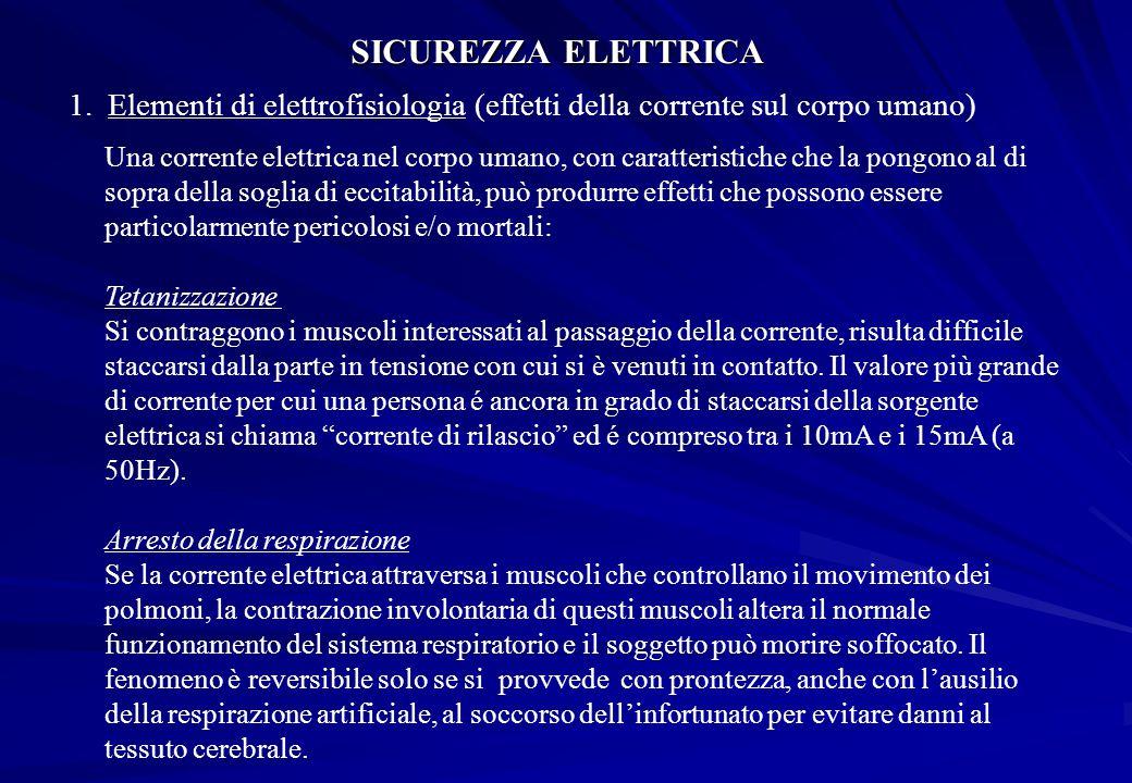 SICUREZZA ELETTRICA 1.Elementi di elettrofisiologia (effetti della corrente sul corpo umano) Una corrente elettrica nel corpo umano, con caratteristic