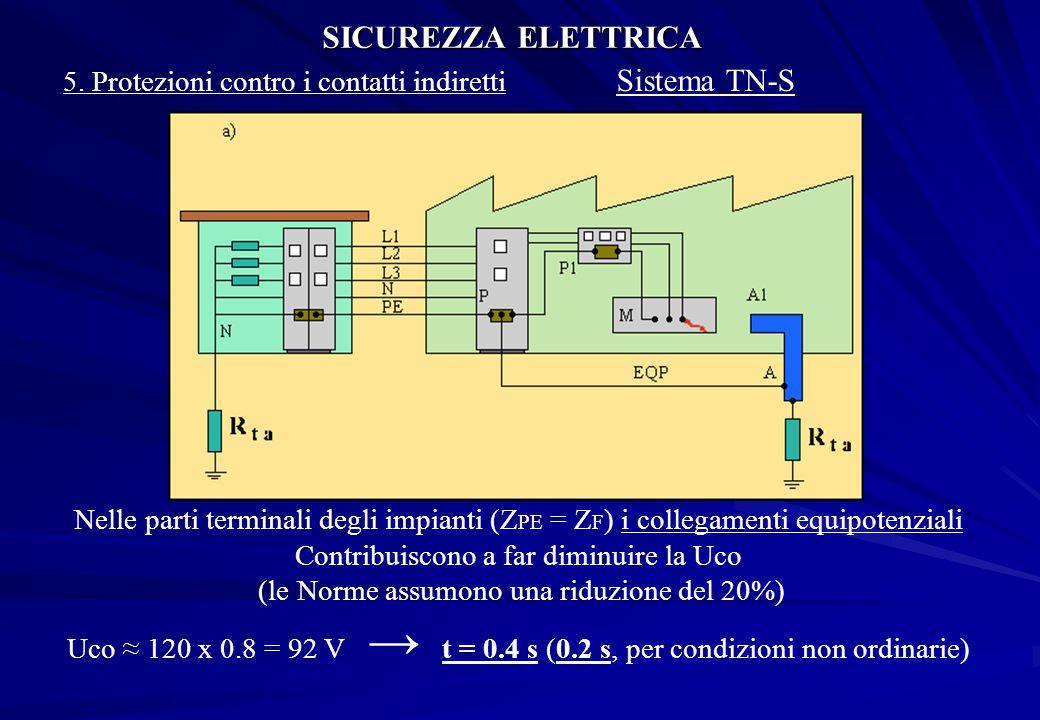 SICUREZZA ELETTRICA 5. Protezioni contro i contatti indiretti Sistema TN-S Nelle parti terminali degli impianti (Z PE = Z F ) i collegamenti equipoten