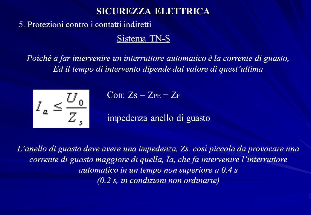 SICUREZZA ELETTRICA 5. Protezioni contro i contatti indiretti Sistema TN-S Poiché a far intervenire un interruttore automatico è la corrente di guasto