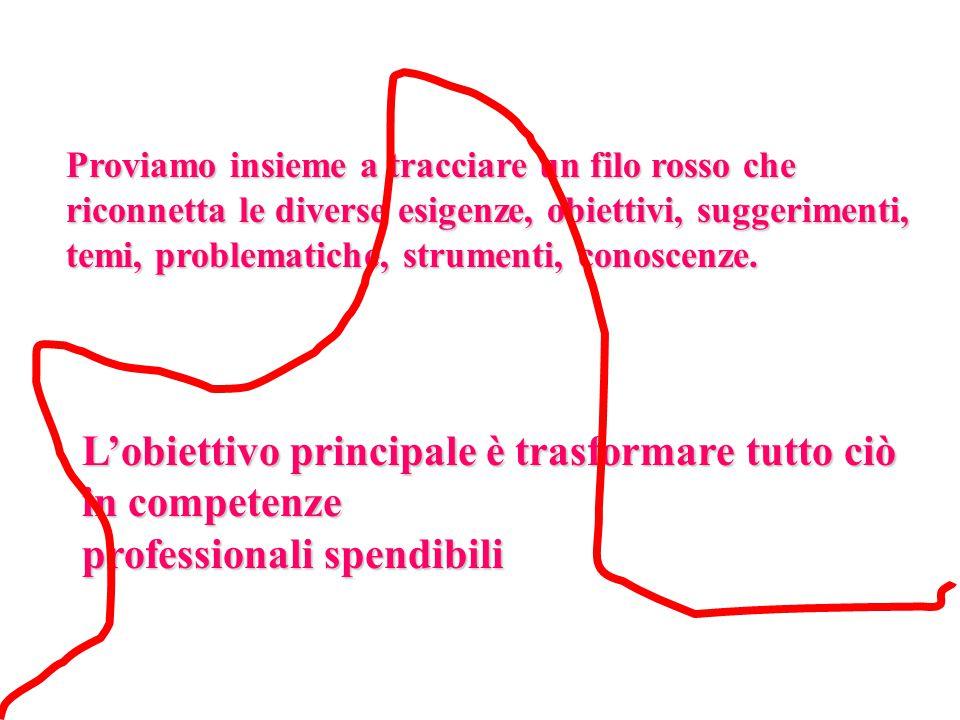 Proviamo insieme a tracciare un filo rosso che riconnetta le diverse esigenze, obiettivi, suggerimenti, temi, problematiche, strumenti, conoscenze.