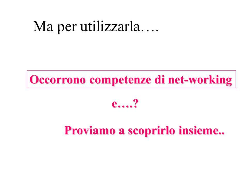 Occorrono competenze di net-working e…. Proviamo a scoprirlo insieme.. Ma per utilizzarla….