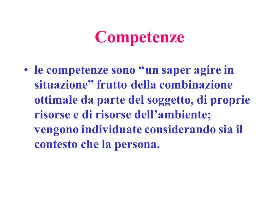 Competenze le competenze sono un saper agire in situazione frutto della combinazione ottimale da parte del soggetto, di proprie risorse e di risorse dell'ambiente; vengono individuate considerando sia il contesto che la persona.