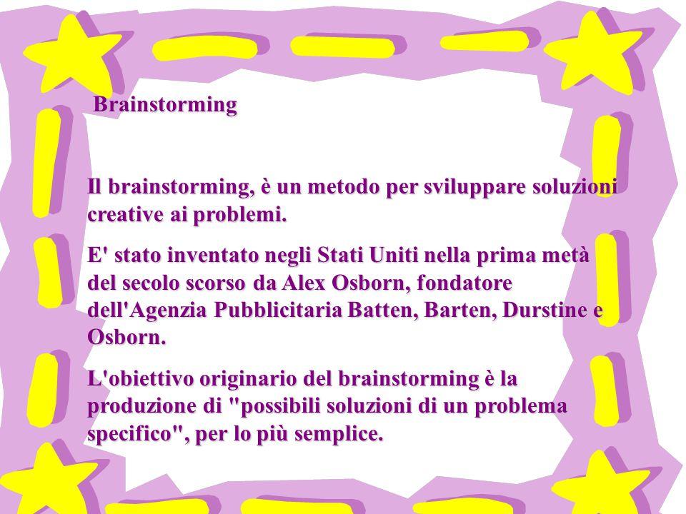 Brainstorming Brainstorming Il brainstorming, è un metodo per sviluppare soluzioni creative ai problemi.