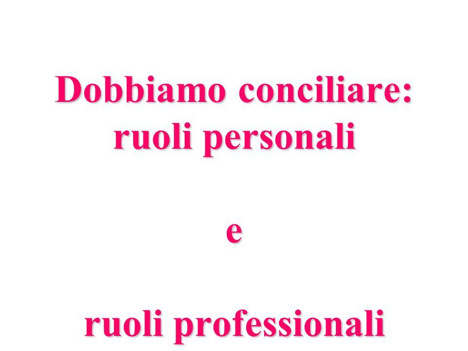 Dobbiamo conciliare: ruoli personali e ruoli professionali