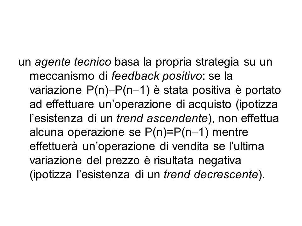 un agente tecnico basa la propria strategia su un meccanismo di feedback positivo: se la variazione P(n)  P(n  1) è stata positiva è portato ad effettuare un'operazione di acquisto (ipotizza l'esistenza di un trend ascendente), non effettua alcuna operazione se P(n)=P(n  1) mentre effettuerà un'operazione di vendita se l'ultima variazione del prezzo è risultata negativa (ipotizza l'esistenza di un trend decrescente).